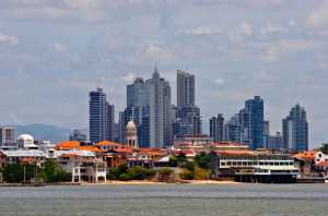 Casco Viejo, the Old Quarter with modern Panama City skyline as a backdrop. - Panama-Cosmic Travel