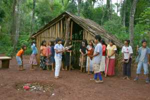 Guarani indians singing at Puerto Iguazu Argentina. - Iguazu-Cosmic Travel