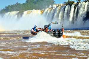 Macuco Safari boat trip on river Iguacu to the base of Iguassu Falls. - Iguazu-Cosmic Travel