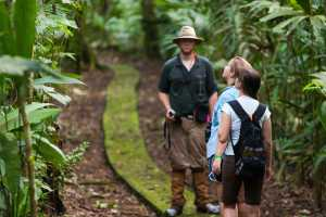 Student researchers hike on trails during graduate studies at La Selva biological station in Sarapiqui de Viejo - Costa Rica-Cosmic Travel