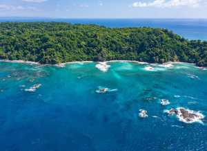 Aerial of Cano Island National Park, an Island in Pacific Ocean - Costa Rica-Cosmic Travel