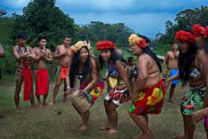 Music and dancing in the village of the Native Indian Embera Tribe, Embera Village. - Panama-Cosmic Travel