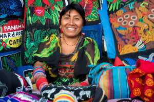 Kuna women sell their molas to the tourists. Panama City Casco Viejo kuna indian traditional handicraft items sellers by kuna tribe. - Panama-Cosmic Travel